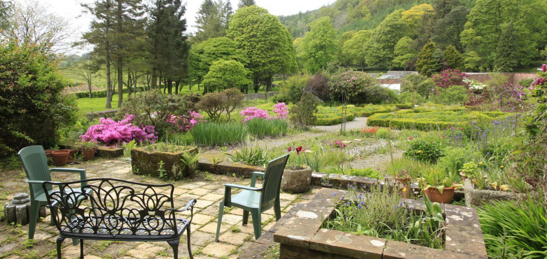 the terrace overlooking the walled garden, Kirkennan, Palnackie
