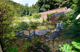 terrace at top of kirkennan walled garden