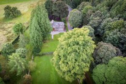 Aerial view of The Lodge, self-catering accommodation in South West Scotland