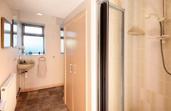 The downstairs shower/toilet/sink provides additional facilities.