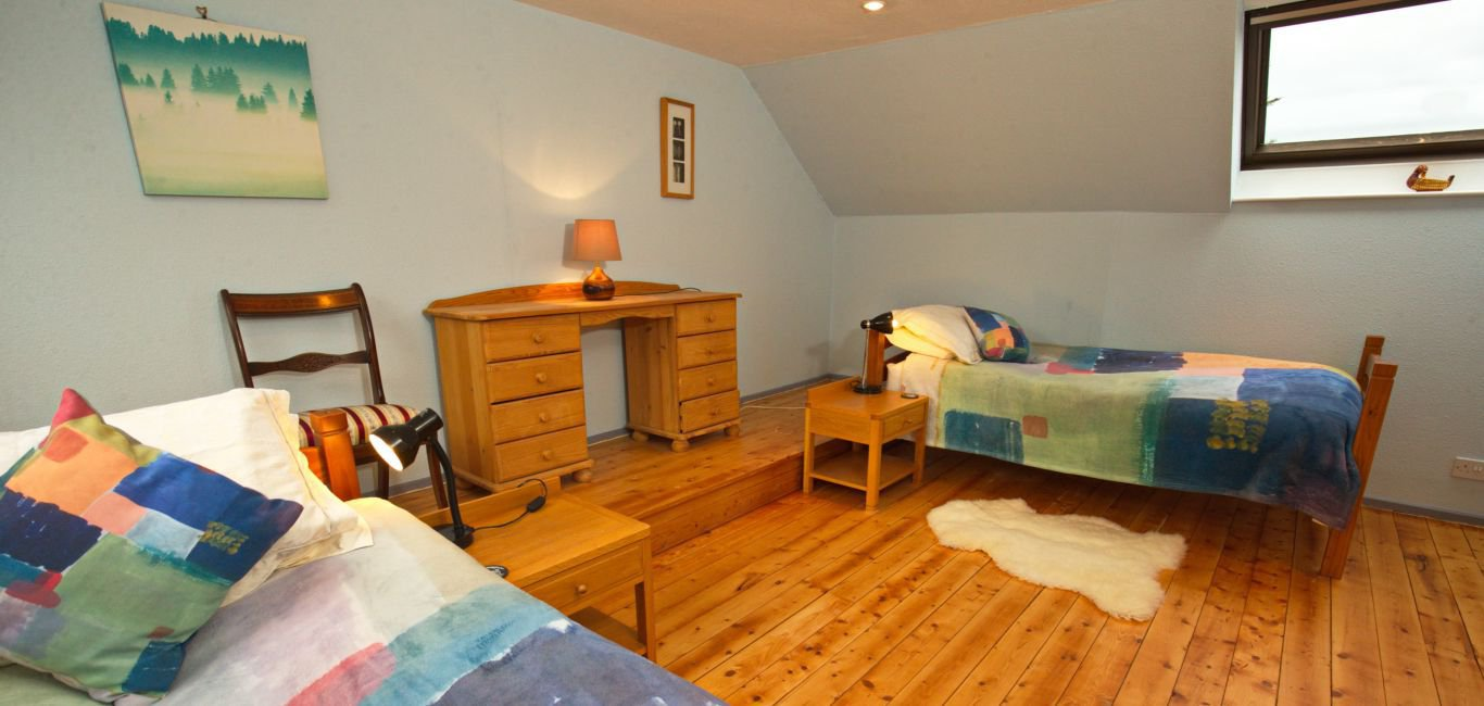 The twin bedroom in The Mews holiday cottage near Castle Douglas