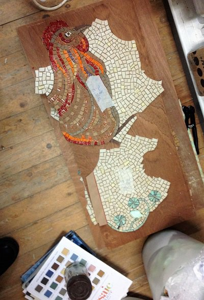 Mosaic sections at Helen's studio