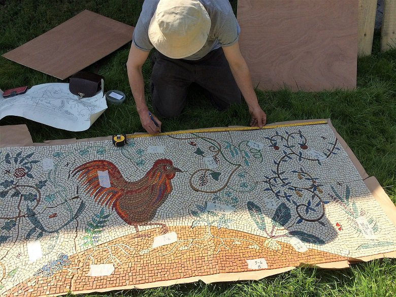 Working out the layout of the Kirkennan garden mosaic